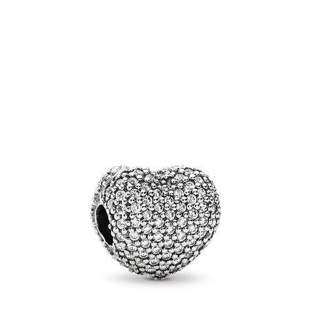 Pavé Open My Heart Clip, Clear CZ, Sterling silver, Cubic Zirconia - PANDORA - #791427CZ