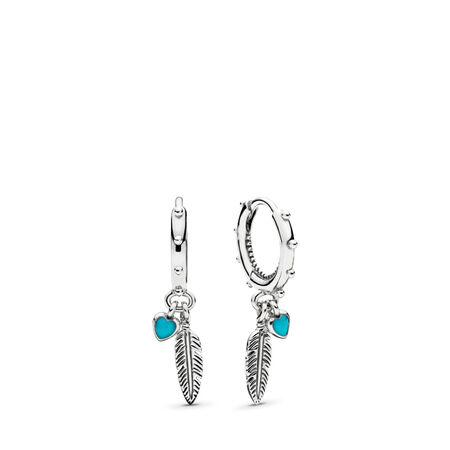 Spiritual Feathers Dangle Earrings, Turquoise Enamel, Sterling silver, Enamel, Turquoise - PANDORA - #297205EN168
