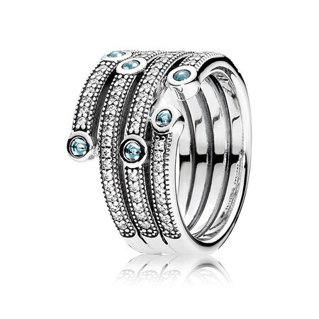 Shimmering Ocean Ring, Frosty Mint & Clear CZ
