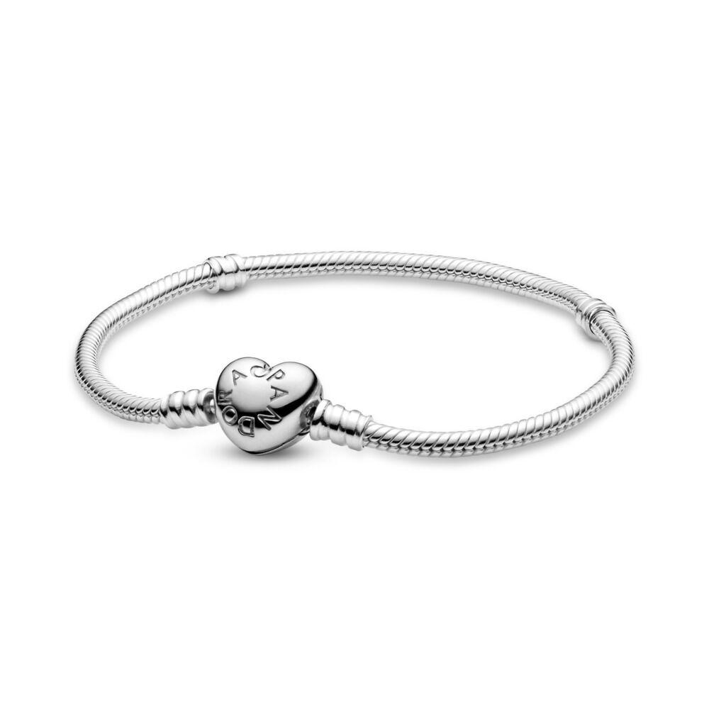 f52b44a9df6ec Silver Charm Bracelet with Heart Clasp