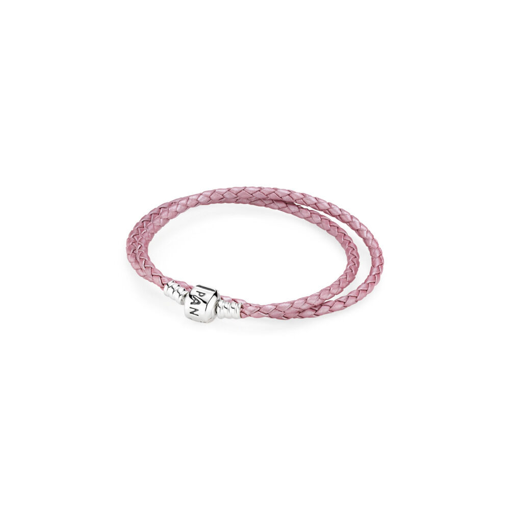 0f63d95db Pink Braided Double-Leather Charm Bracelet, Sterling silver, Leather, Pink  - PANDORA