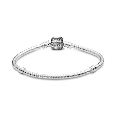 Sterling Silver Bracelet w/ Signature Clasp, Clear CZ