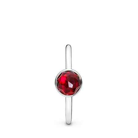 July Droplet Ring, Synthetic Ruby