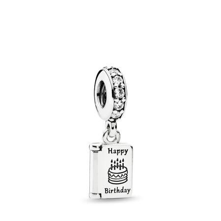Birthday Wishes Dangle Charm, Clear CZ