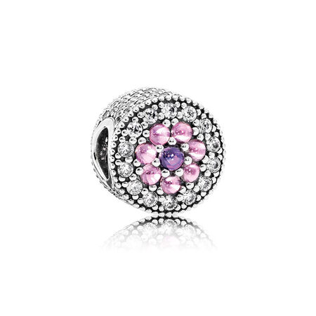 Dazzling Floral Charm, Multi-Colored CZ