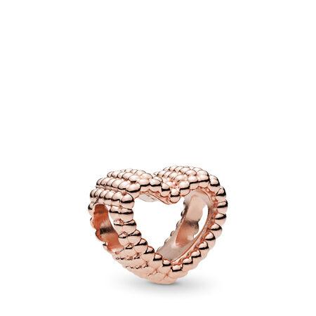 Beaded Heart Charm, PANDORA Rose™, PANDORA Rose - PANDORA - #787516