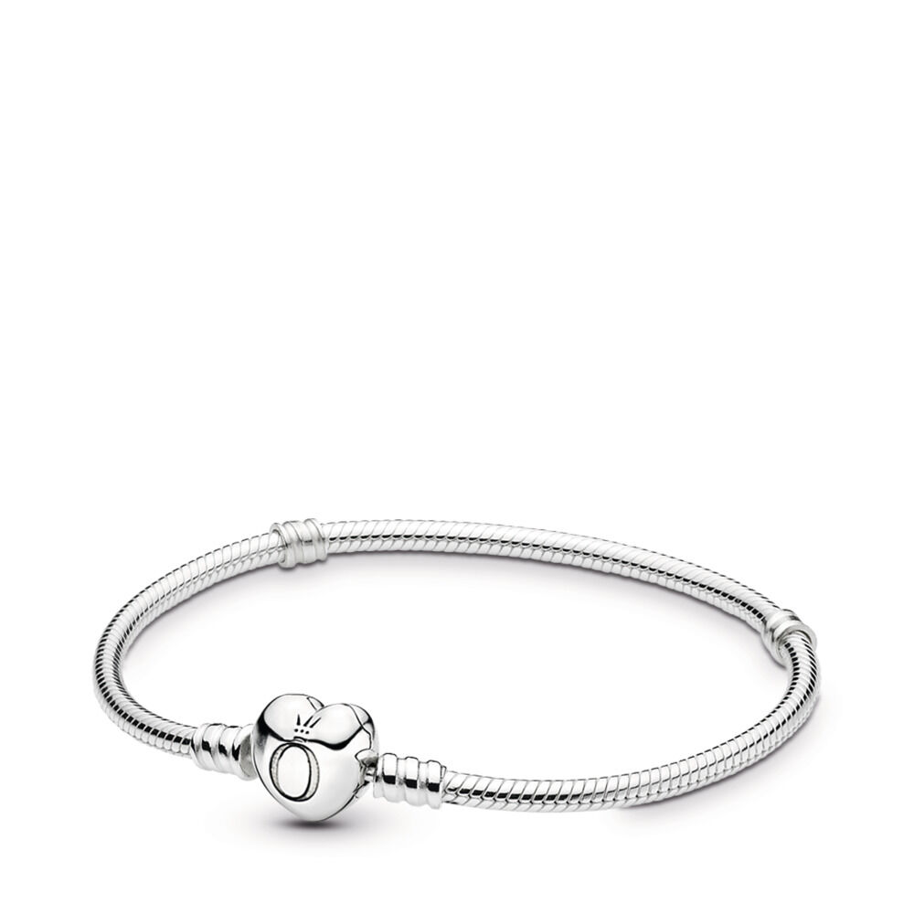 cbd8044ad Moments Heart & Snake Chain Bracelet, Sterling silver - PANDORA - #590719