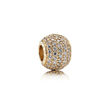 Pavé Lights Charm, Clear CZ & 14K Gold