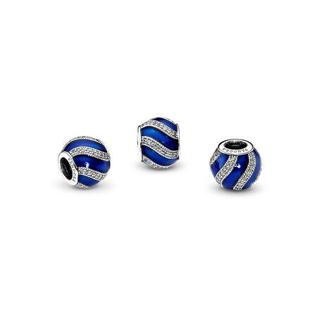 Adornment Charm, Transparent Royal-Blue Enamel &  Clear CZ