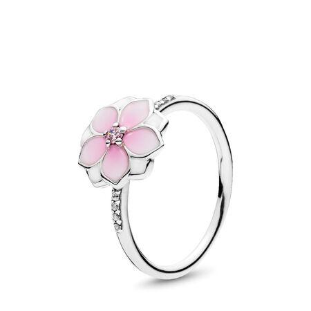 Magnolia Bloom Ring, Pale Cerise Enamel & Pink CZ