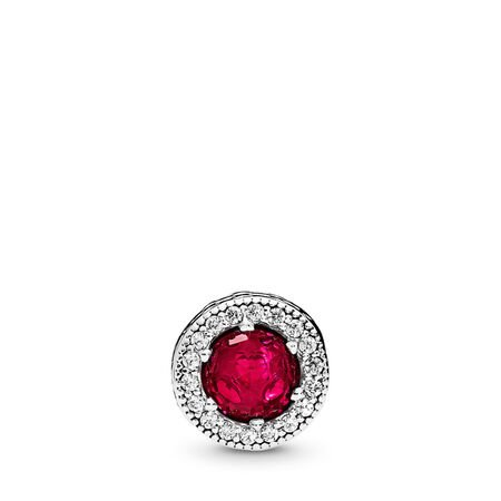 PASSION Charm, Synthetic Ruby & Clear CZ, Sterling silver, Silicone, Red, Mixed stones - PANDORA - #796441SRU