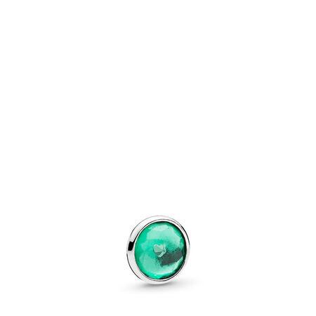 May Droplet Petite Locket Charm, Sterling silver, Crystal - PANDORA - #792175NRG