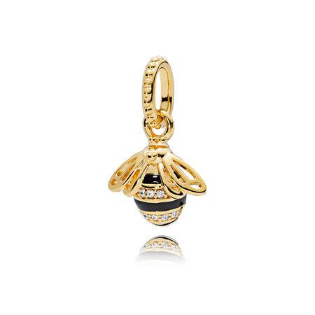 Queen Bee Pendant, PANDORA Shine™, Black Enamel & Clear CZ