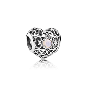 October Signature Heart Charm, Opalescent Pink Crystal