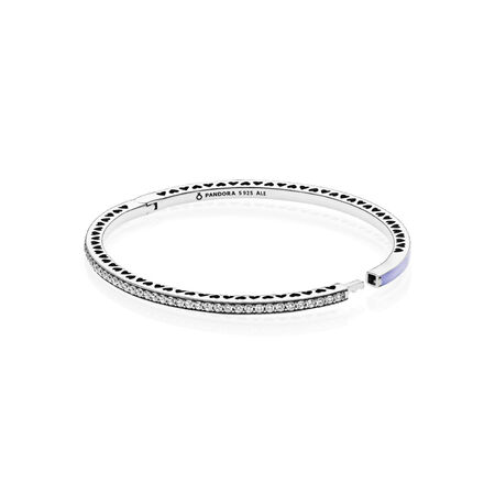 cbb93240b Radiant Hearts of PANDORA Bangle Bracelet, Lavender Enamel & Clear CZ