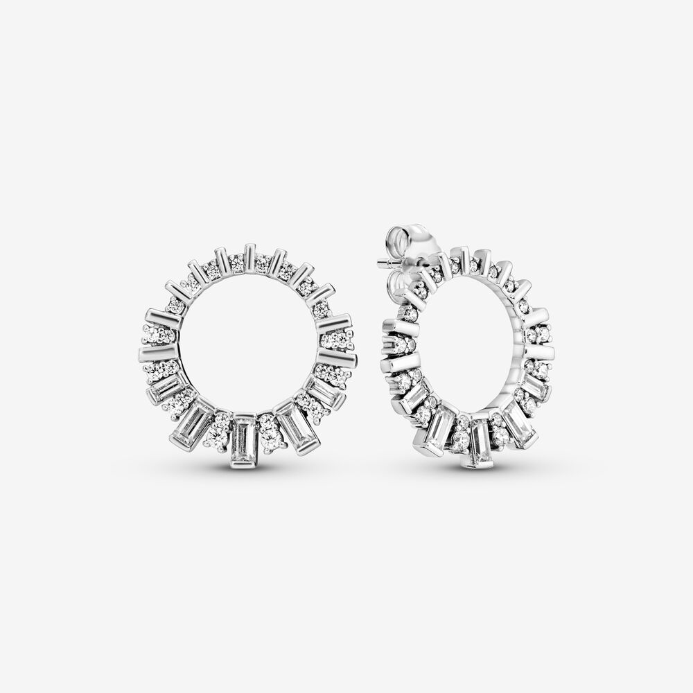 Sparkling Ice Cube Circle Stud Earrings