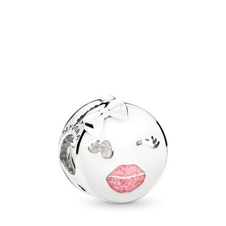 Playful Wink Charm, Pink Enamel