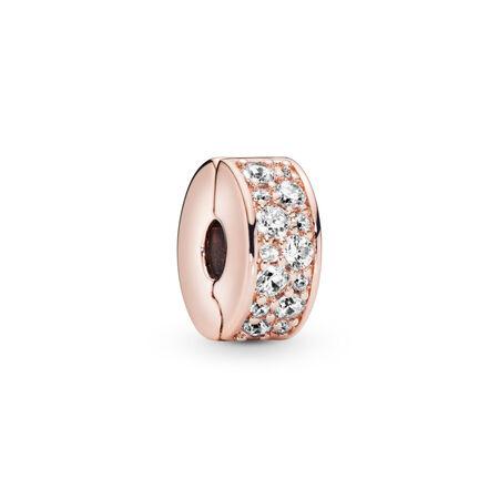 Shining Elegance Clip, PANDORA Rose™ & Clear CZ, PANDORA Rose, Silicone, Cubic Zirconia - PANDORA - #781817CZ