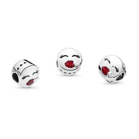 Kiss Charm, Cerise Glitter Enamel, Sterling silver, Enamel, Red - PANDORA - #796561EN152