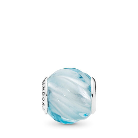 Blue Ripples Charm, Aqua Blue Crystal