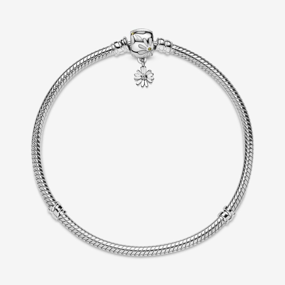 Pandora Moments Daisy Flower Clasp Snake Chain Bracelet   Sterling ...