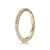 Forever Pavé Stackable Ring, Clear CZ & 14K Gold
