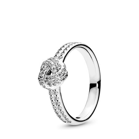 Sparkling Love Knot Ring, Clear CZ