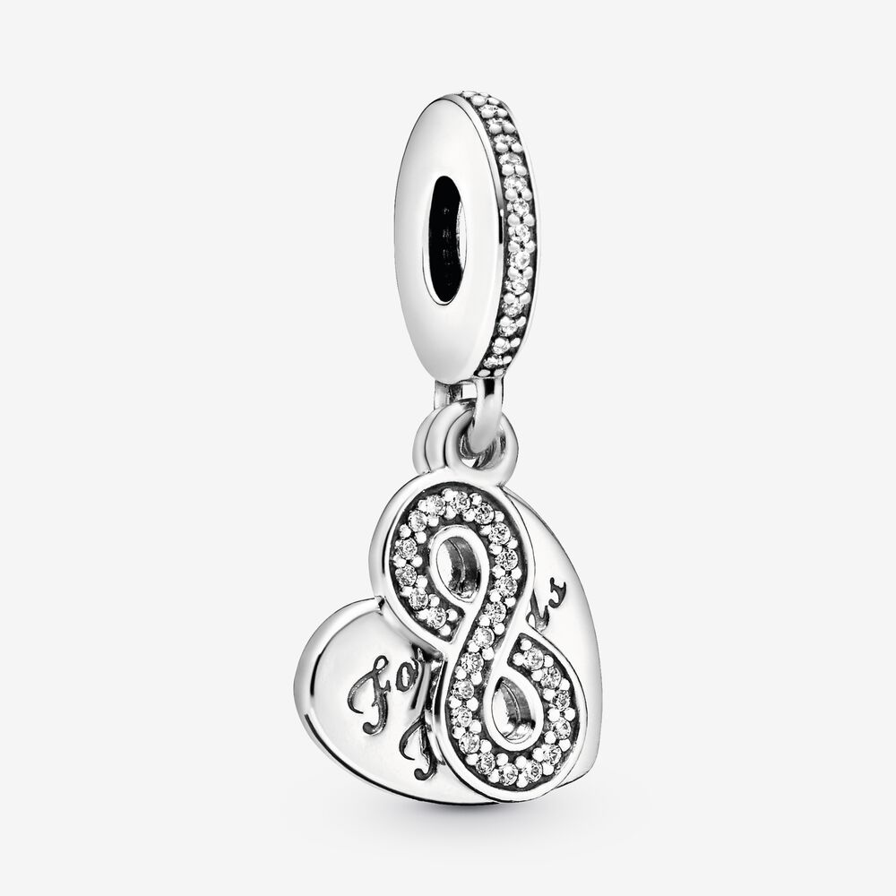 Forever Friends Dangle Charm with Clear CZ   Sterling silver ...