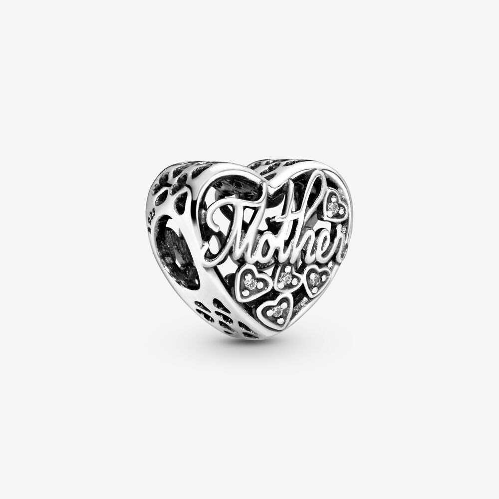 Mother & Son Script Openwork Charm