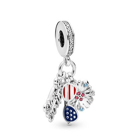 American Icons Dangle Charm, Sterling silver, Enamel, Blue, Mixed stones - PANDORA - #798020CZMX
