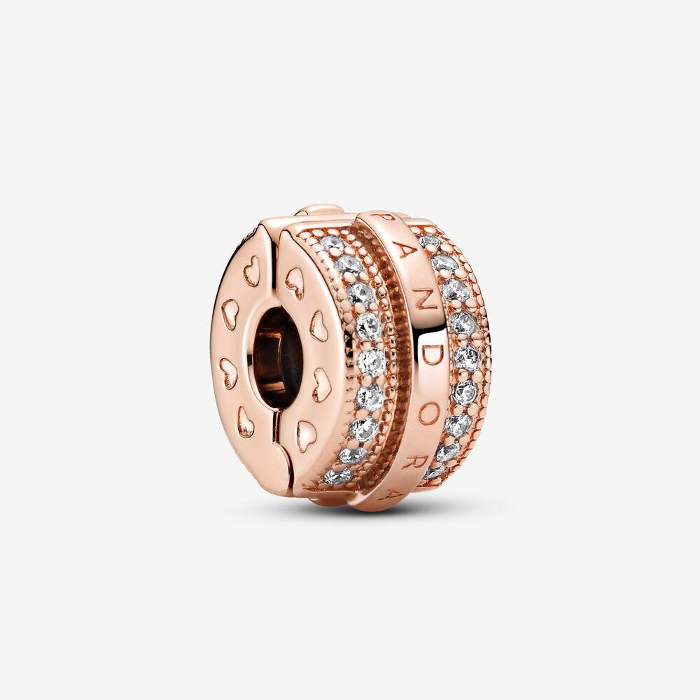Sparkling Pavé Lines & Logo Clip Charm | Rose gold plated | Pandora US