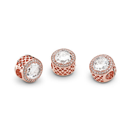 Radiant Hearts Charm, PANDORA Rose™ & Clear CZ