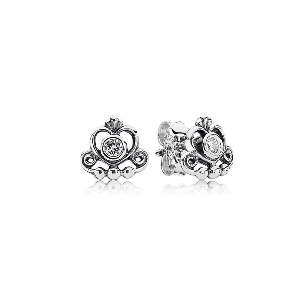 My Princess Tiara Stud Earrings Clear Cz Pandora Jewelry Us