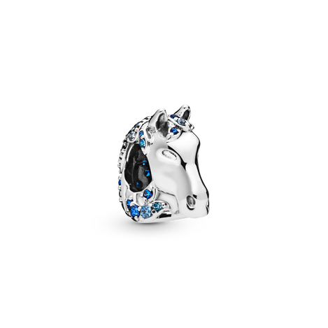 Disney Nokk sterling silver charm with fancy blue cubic zirconia, night blue and forever blue crystal