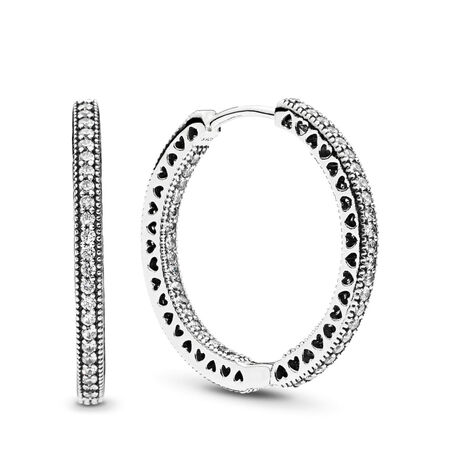 Hearts of PANDORA Hoop Earrings, Clear CZ