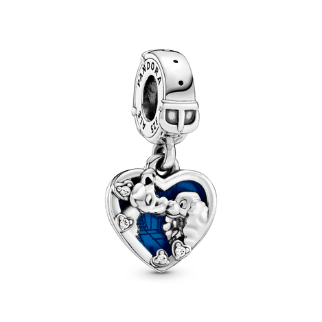 Disney Lady and the Tramp sterling silver dangle with clear cubic zirconia and shimmering blue enamel