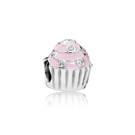 Sweet Cupcake Charm, Light Pink Enamel & Clear CZ