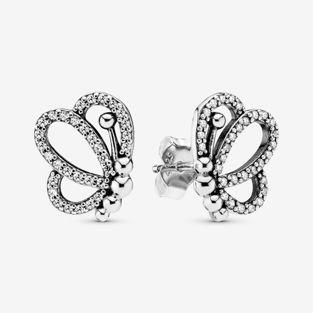 Sparkling Openwork Butterfly Stud Earrings