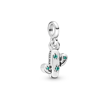Cactus sterling silver dangle charm with royal green crystal