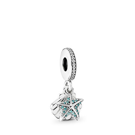 Tropical Starfish & Sea Shell Dangle Charm, Frosty Mint & Clear CZ, Sterling silver, Blue, Cubic Zirconia - PANDORA - #792076CZF