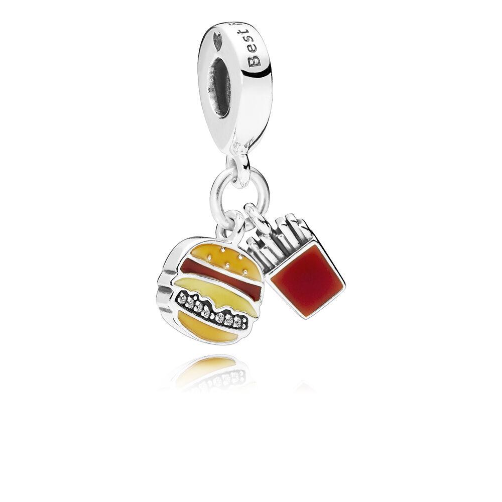 Burger & Fries Dangle Charm, Red, Golden & Yellow Enamel | PANDORA ...