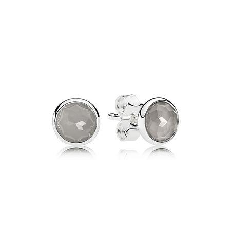 June Droplets Stud Earrings, Grey Moonstone