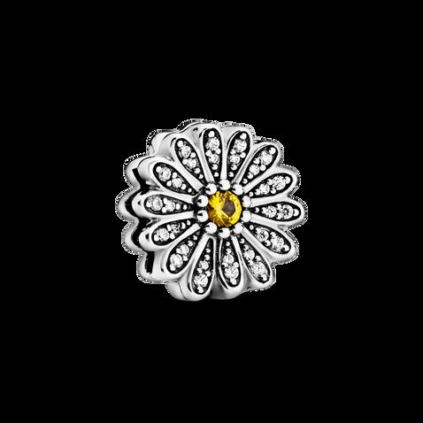Sparkling Daisy Flower Clip Charm