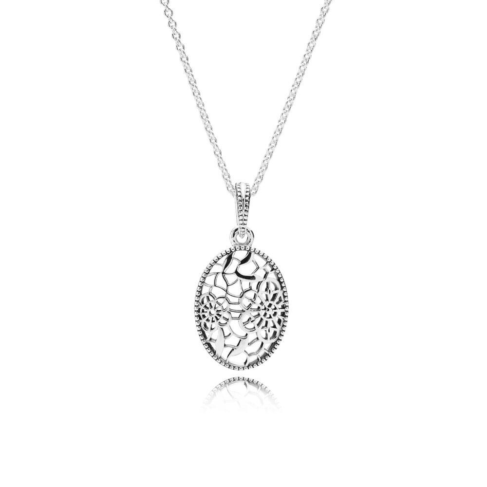 2feac4124 Floral Daisy Lace Pendant Necklace, Sterling silver - PANDORA - #390383-60