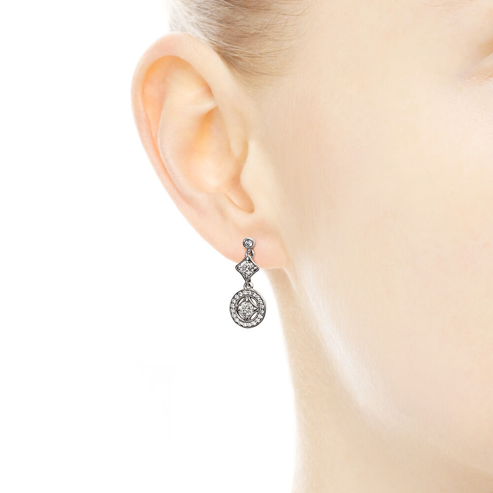 7dc9f1cfe Vintage Allure Drop Earrings, Clear CZ, Sterling silver, Cubic Zirconia -  PANDORA -