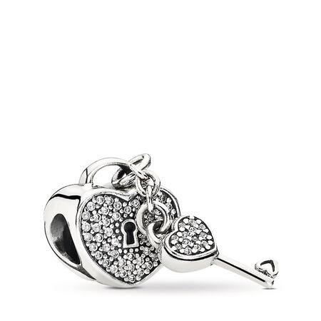 Lock Of Love Charm, Clear CZ, Sterling silver, Cubic Zirconia - PANDORA - #791429CZ
