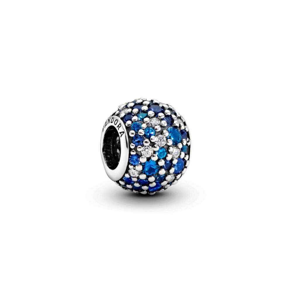 Sky Mosaic Pavé Charm, Mixed Blue Crystals & Clear CZ Sterling silver,  Blue, Mixed stones