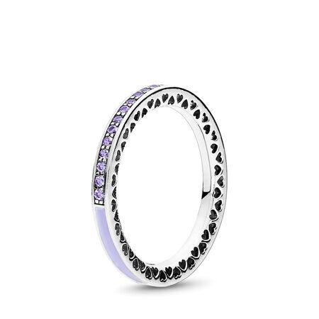 Radiant Hearts of PANDORA Ring, Lavender Enamel & Clear CZ
