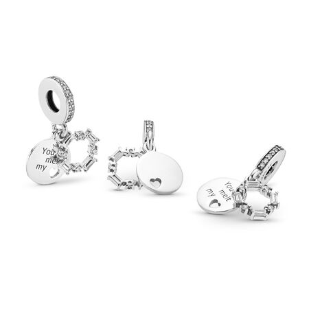 Ice Carving Dangle Charm, Clear CZ