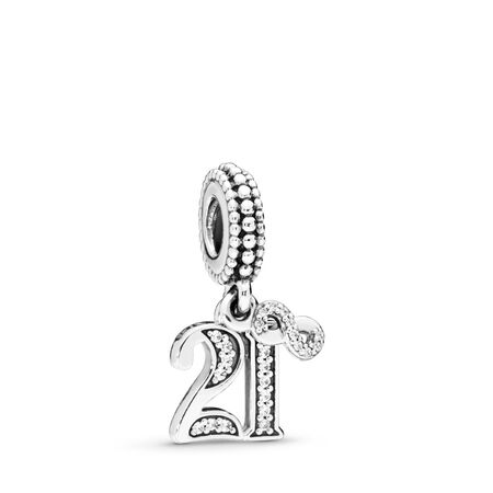 21 Years of Love Dangle Charm, Clear CZ, Sterling silver, Cubic Zirconia - PANDORA - #797263CZ